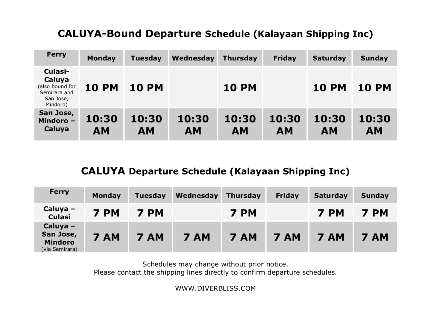 Kalayaan Shipping Inc schedule of ferry for Caluya, Antique as of September 2019