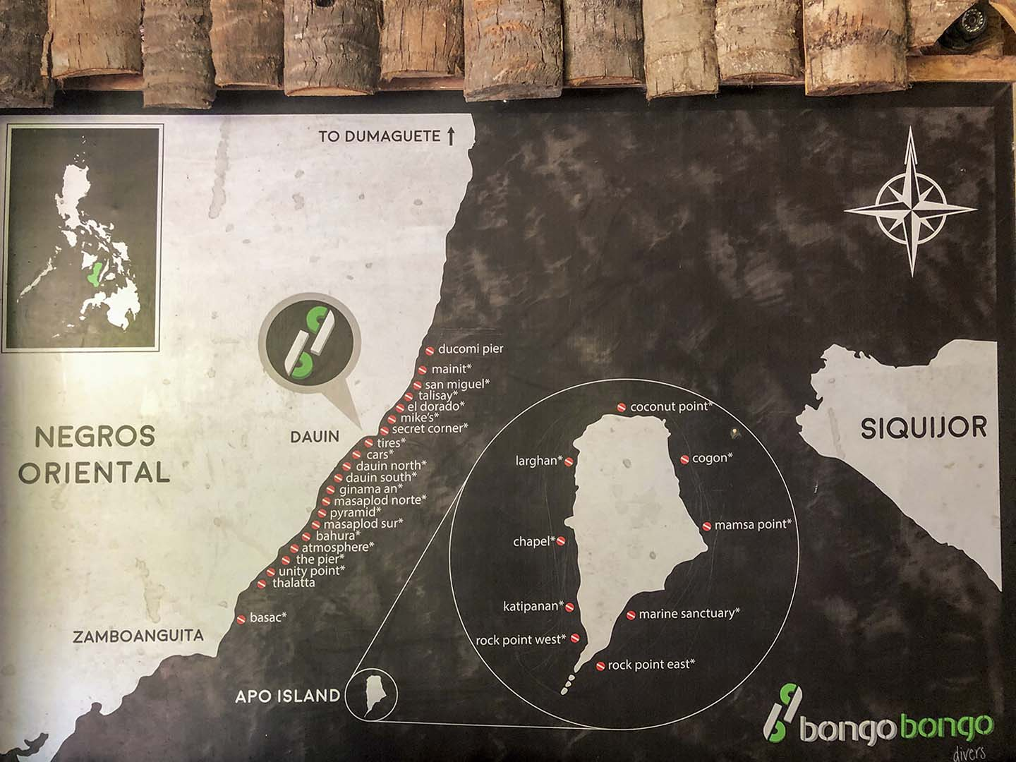 A map of the dive sites in Dauin, Negros Oriental