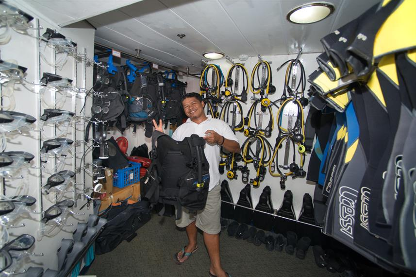 Dive gear room of MV Discovery Palawan