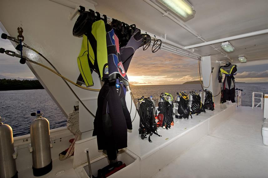 Ready to jump into Apo Island waters from this spacious dive deck! Photo c/o Atlantis Azores.