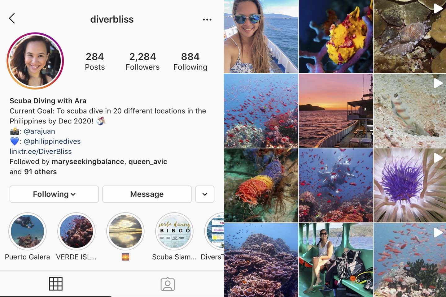 @diverbliss diving instagram account focuses on sustainable travels, scuba diving and marine conservation