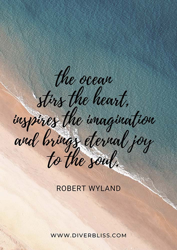 """Ocean Quotes Poster: """"The ocean stirs the heart, inspires the imagination and brings eternal joy to the soul""""- Robert Wyland"""