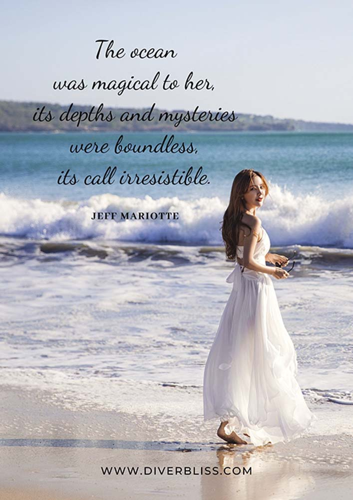 """Ocean Quotes Poster: """"The ocean was magical to her, its depths and mysteries were boundless, its call irresistible."""" – Jeff Mariotte"""
