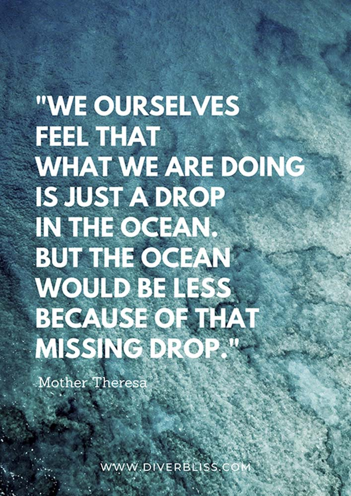 """Ocean Quotes Poster: """"We ourselves feel that what we are doing is just a drop in the ocean. But the ocean would be less because of that missing drop.""""- Mother Teresa"""