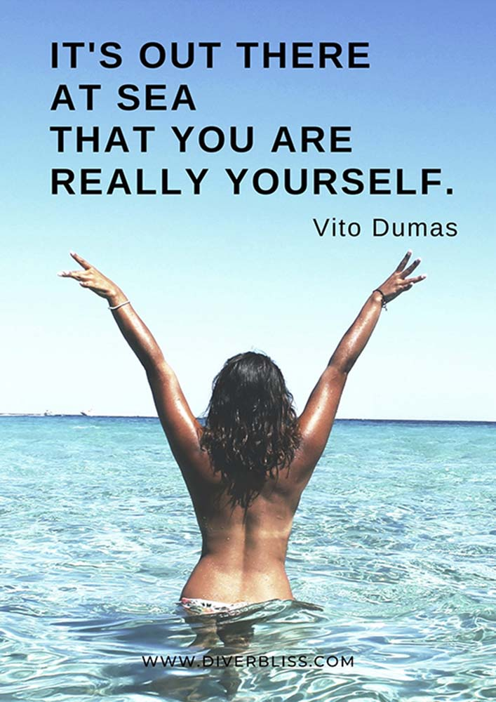 """Sea Quotes Poster: """"It's out there at sea that you are really yourself.""""- Vito Dumas"""