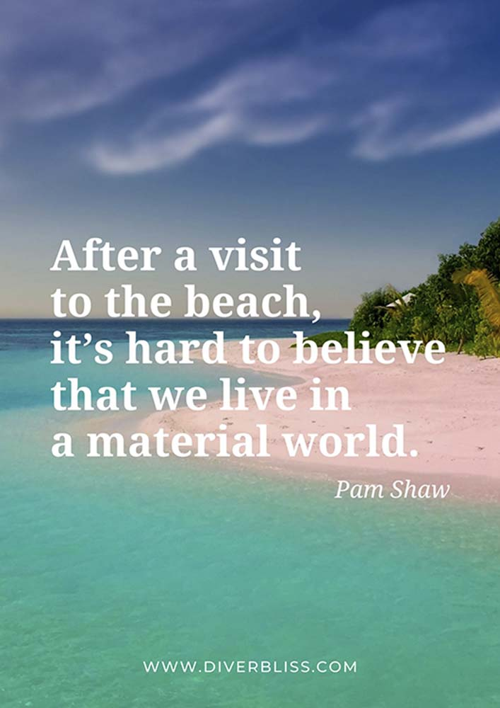 """Beach Quotes Poster: """"After a visit to the beach, it's hard to believe that we live in a material world.""""- Pam Shaw"""