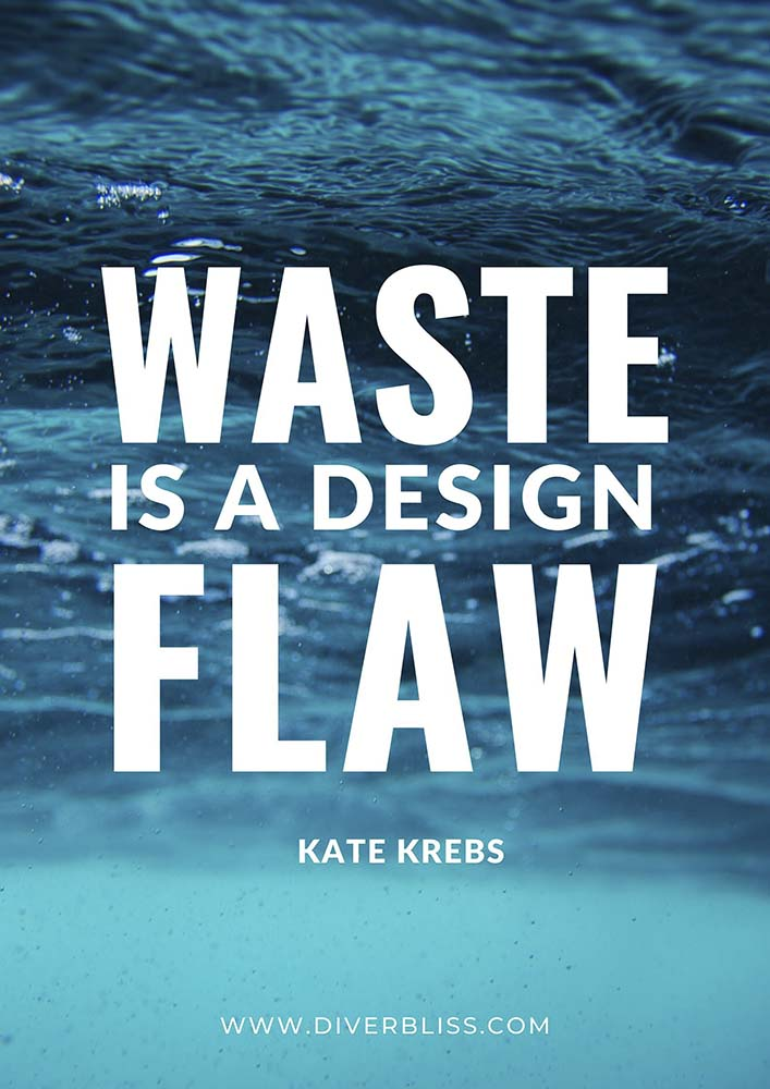 """Plastic Pollution Quotes Poster: """"Waste is a design flaw.""""- Kate Krebs"""