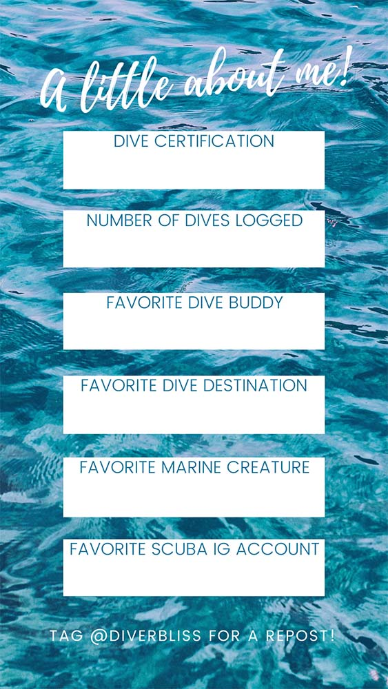 Instagram story games templates: About Me Dive Edition