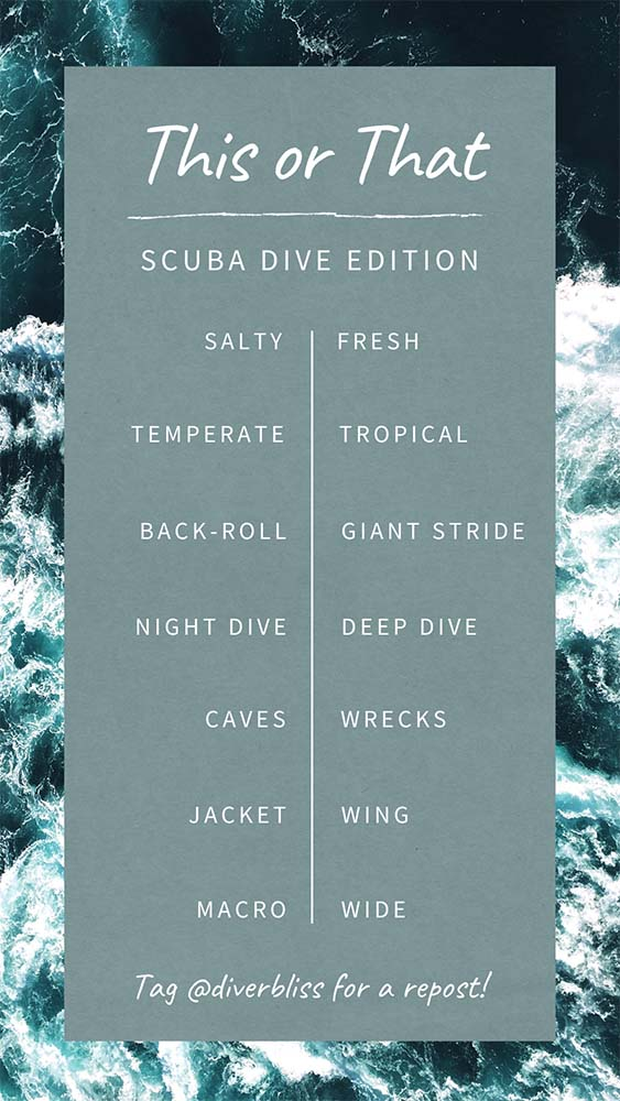 Instagram story games templates: This and That Scuba Dive Edition