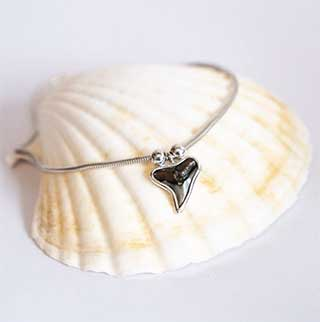 Scuba Diving Gifts for Her: Fossil Shark Tooth Anklet by Found at Sea