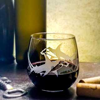 Hammerhead Shark Stemless Wine Glass by Dances with Monsters