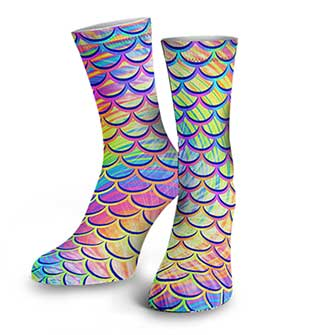 Best Scuba Diver Gift for Her Pyschedelic Mermaid Dive Socks by Space Fish Army