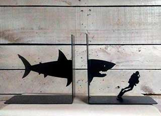 Shark and Scuba Diver Bookends by Evy Ann Designs