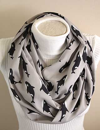Orca Whale Infinity Scarf by Dream Express