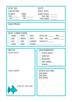 Printable Dive Log by Diver Bliss