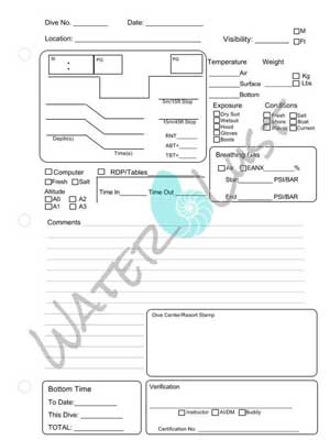Digital Download Scuba Diving Logbook Pages by High Mountain Sea