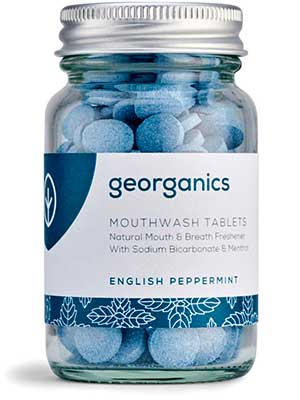 English Peppermint Mouthwash Tablets in a bottle from Georganics