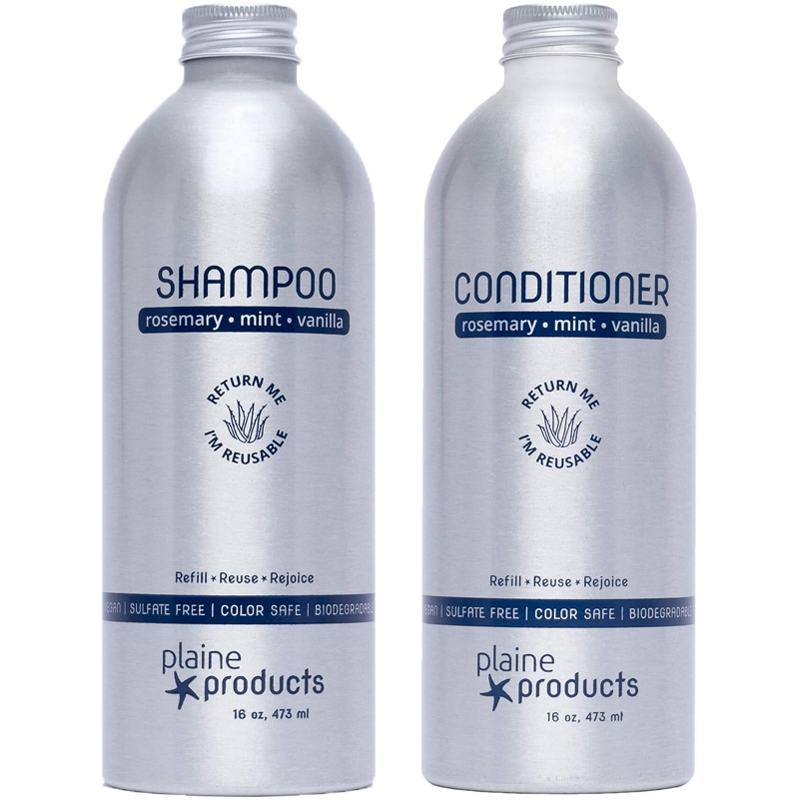 Plaine Products Vegan Shampoo and Conditioner in  Refillable Reusable Aluminum Bottle