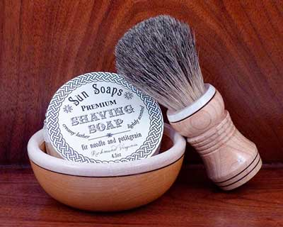 Shaving Soap in a maple two-tone shaving bowl and matching shaving brush by Sun Soaps LLC