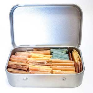 soap slices in tin can from Clarks LMH farm