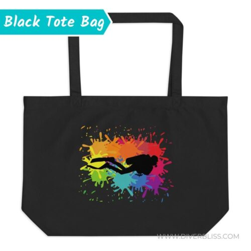 Colorful Scuba Diver Wanted Tote Bag in Black