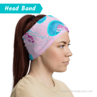 Pink Blue Jellyfish Head Band on Woman