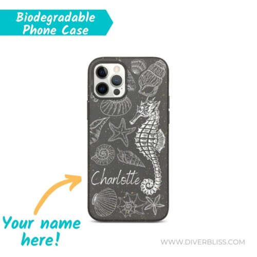 Your Name on Seashell and Seahorse Design biodegradable phone case