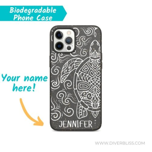 Your Name on Tribal Turtle Design biodegradable phone case