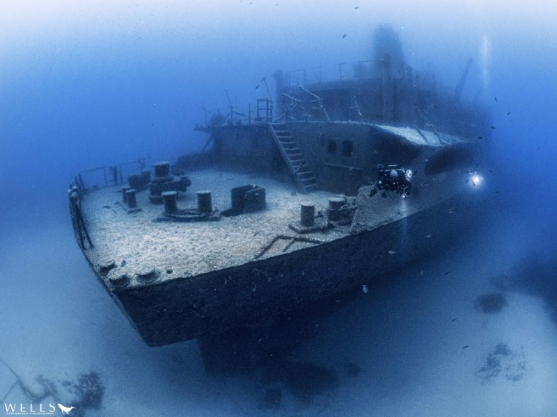 Um El Faroud wreck, Malta- Photograph of one of the most famous shipwrecks in the Maltese archipelago. Underwater Photograph by Carolina Wells