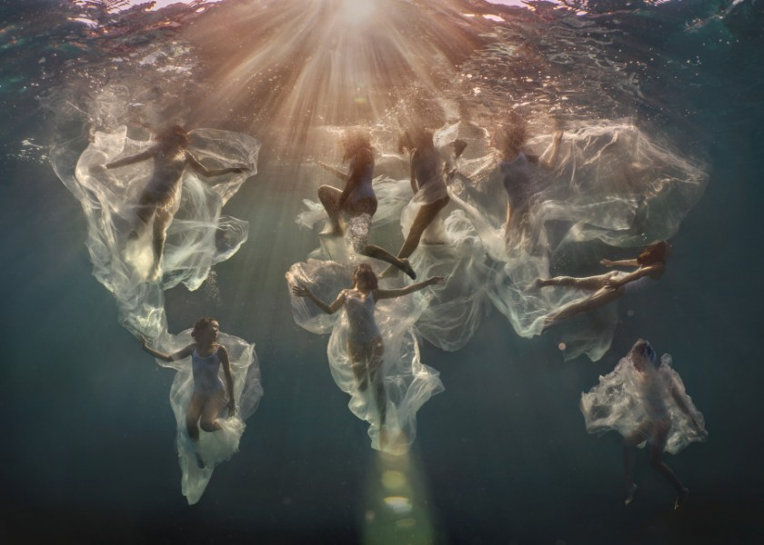 'Single Use Planet' Women trapped in plastic underwater fine art photography by Lexi Laine