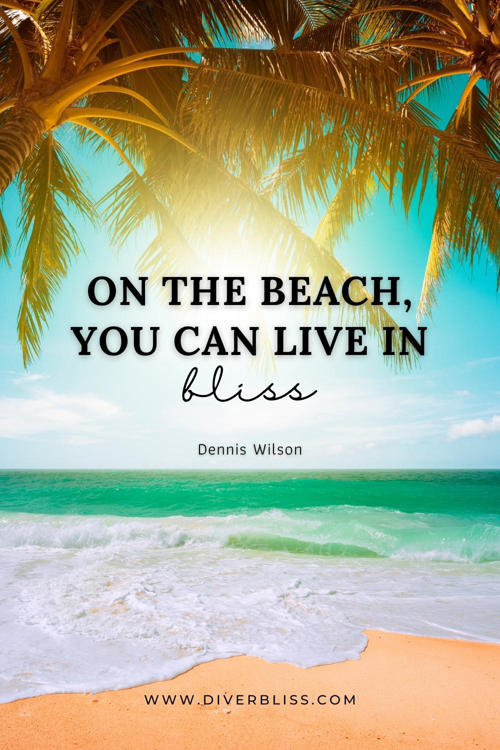"""""""On the beach, you can live in bliss."""" —Dennis Wilson"""