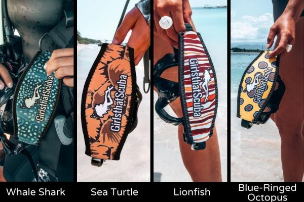 Marine Animal Design Mask Strap Cover from Girls That Scuba