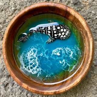 Whale shark small resin bowl by TwoSeasArts